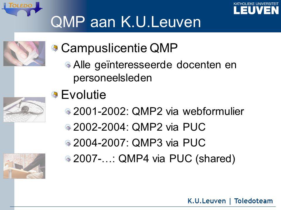 K.U.Leuven | Toledoteam QMP aan K.U.Leuven Campuslicentie QMP Alle geïnteresseerde docenten en personeelsleden Evolutie 2001-2002: QMP2 via webformulier 2002-2004: QMP2 via PUC 2004-2007: QMP3 via PUC 2007-…: QMP4 via PUC (shared)