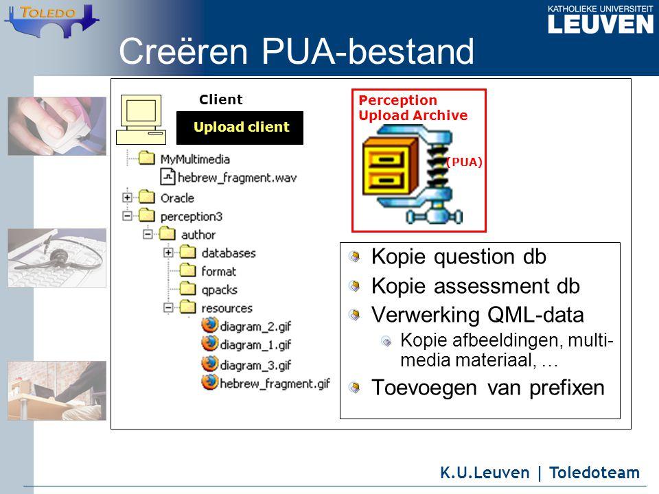 K.U.Leuven | Toledoteam Client Upload client Perception Upload Archive (PUA) Creëren PUA-bestand Kopie question db Kopie assessment db Verwerking QML-data Kopie afbeeldingen, multi- media materiaal, … Toevoegen van prefixen