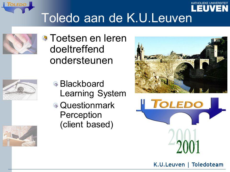 K.U.Leuven | Toledoteam Toledo aan de K.U.Leuven Toetsen en leren doeltreffend ondersteunen Blackboard Learning System Questionmark Perception (client based)