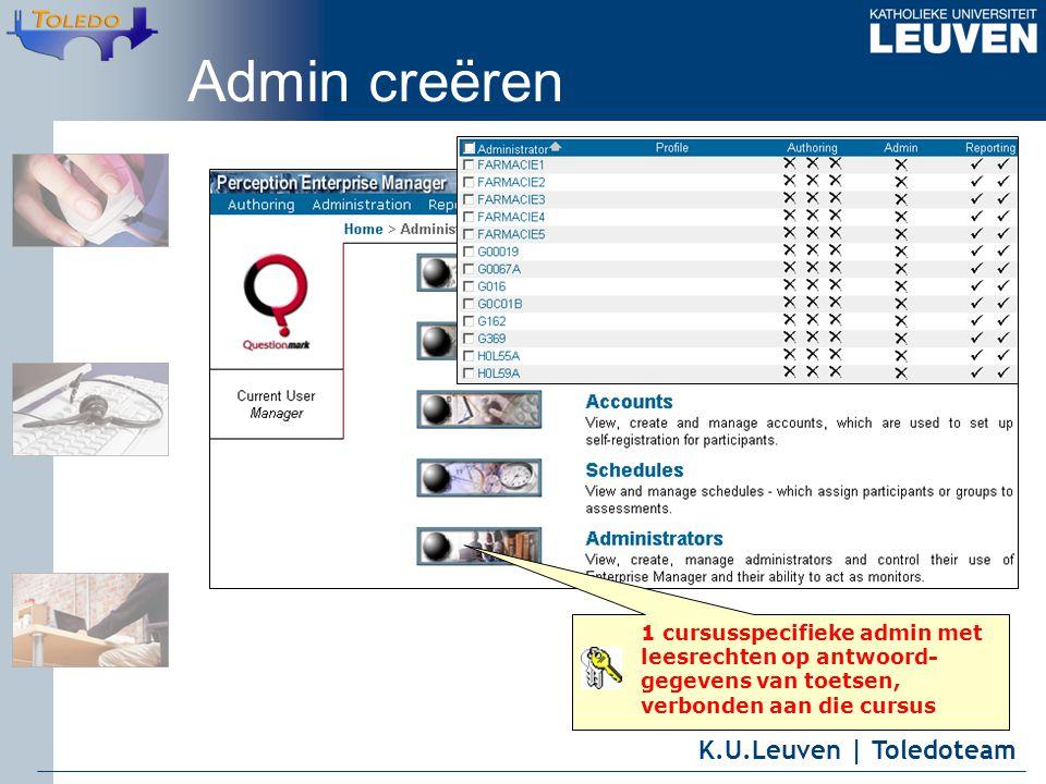 K.U.Leuven | Toledoteam Admin creëren 1 cursusspecifieke admin met leesrechten op antwoord- gegevens van toetsen, verbonden aan die cursus