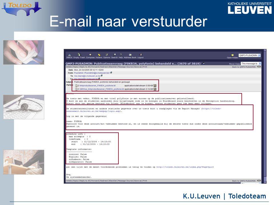 K.U.Leuven | Toledoteam E-mail naar verstuurder