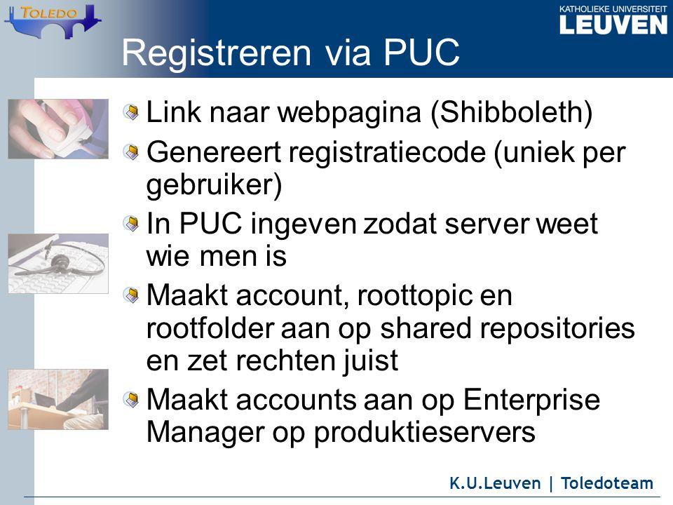 K.U.Leuven | Toledoteam Registreren via PUC Link naar webpagina (Shibboleth) Genereert registratiecode (uniek per gebruiker) In PUC ingeven zodat serv