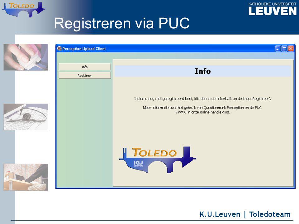 K.U.Leuven | Toledoteam Registreren via PUC