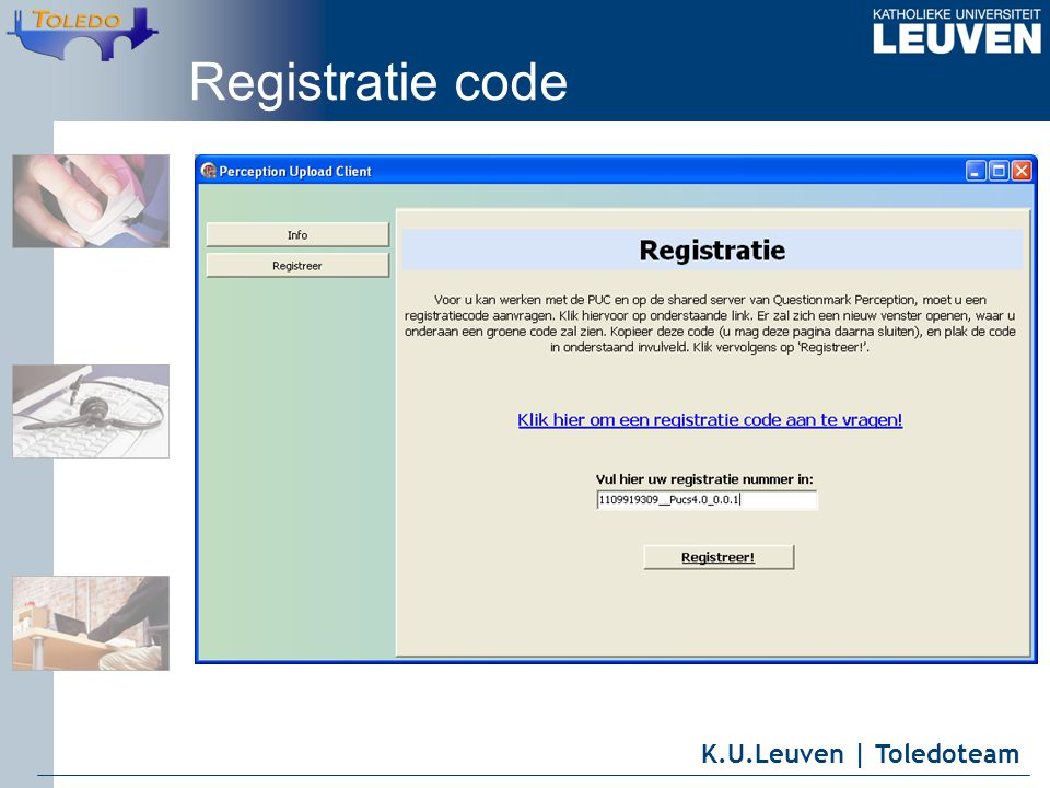 K.U.Leuven | Toledoteam Registratie code