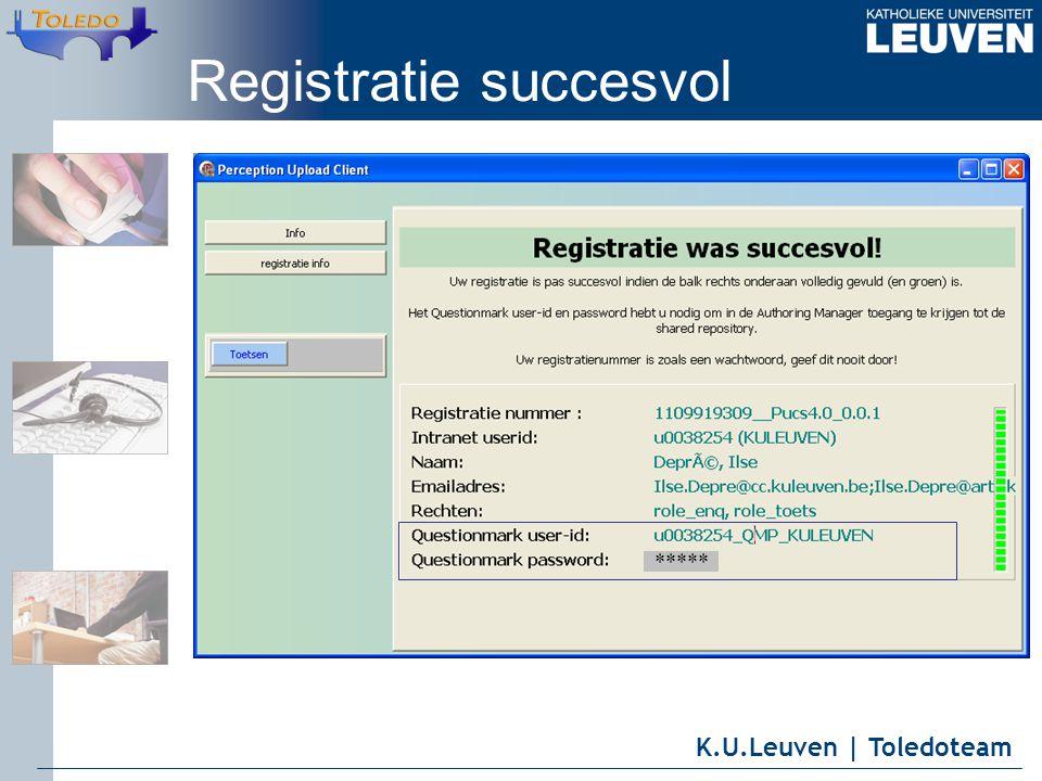 K.U.Leuven | Toledoteam Registratie succesvol *****