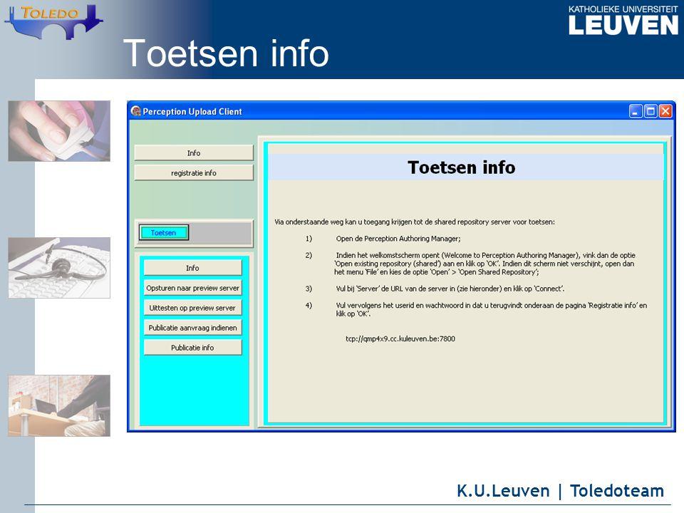 K.U.Leuven | Toledoteam Toetsen info