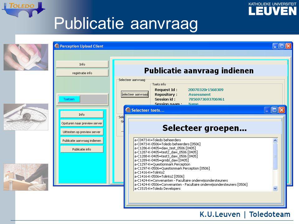 K.U.Leuven | Toledoteam Publicatie aanvraag