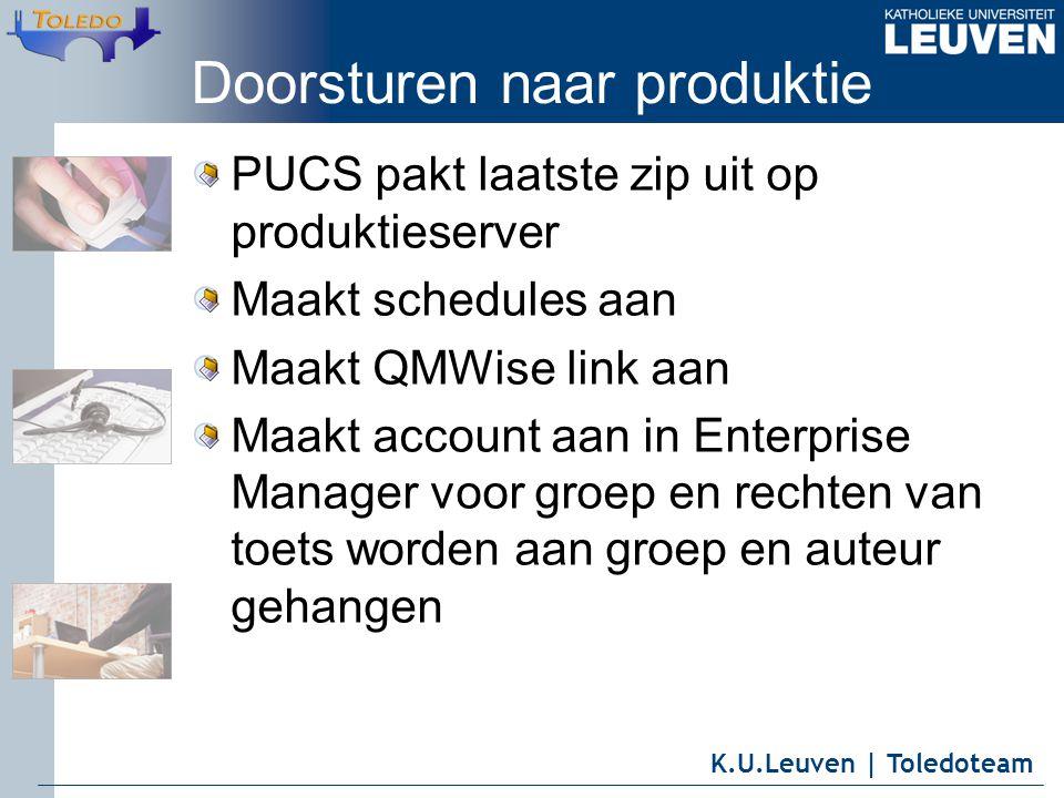 K.U.Leuven | Toledoteam Doorsturen naar produktie PUCS pakt laatste zip uit op produktieserver Maakt schedules aan Maakt QMWise link aan Maakt account