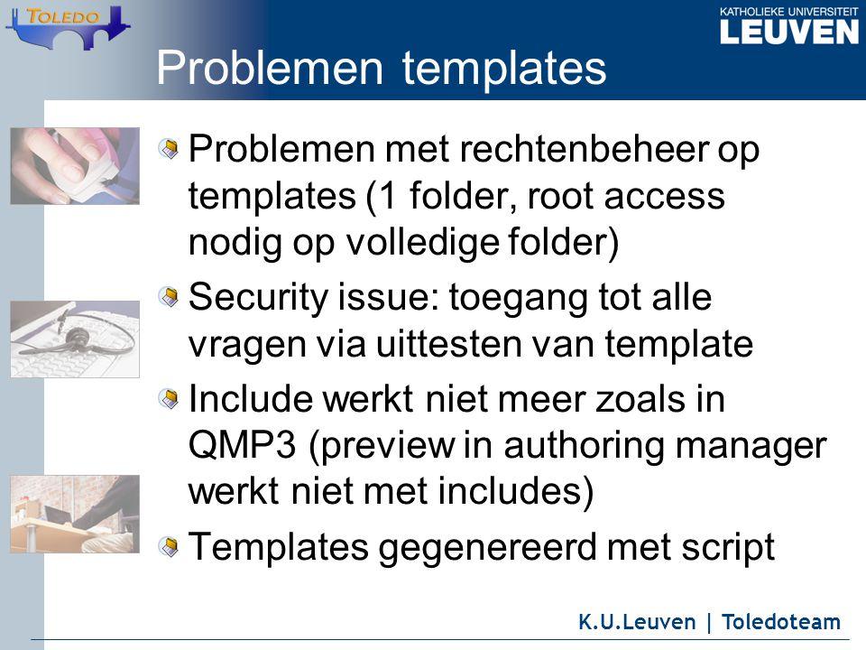 K.U.Leuven | Toledoteam Problemen templates Problemen met rechtenbeheer op templates (1 folder, root access nodig op volledige folder) Security issue: