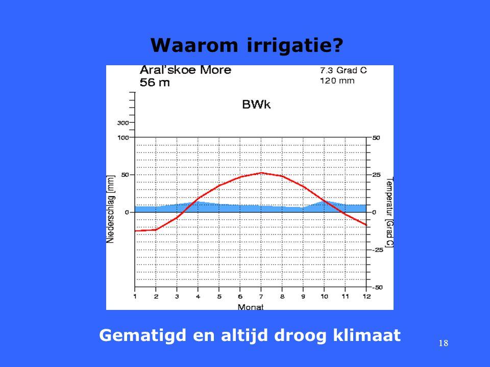 18 Waarom irrigatie? Gematigd en altijd droog klimaat