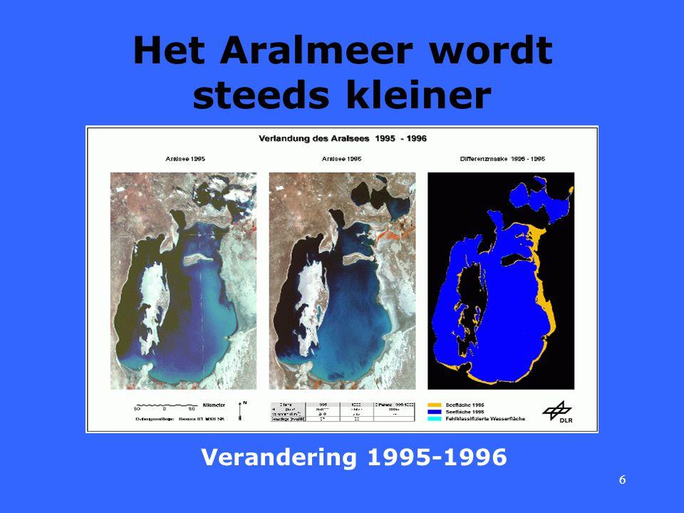 6 Het Aralmeer wordt steeds kleiner Verandering 1995-1996