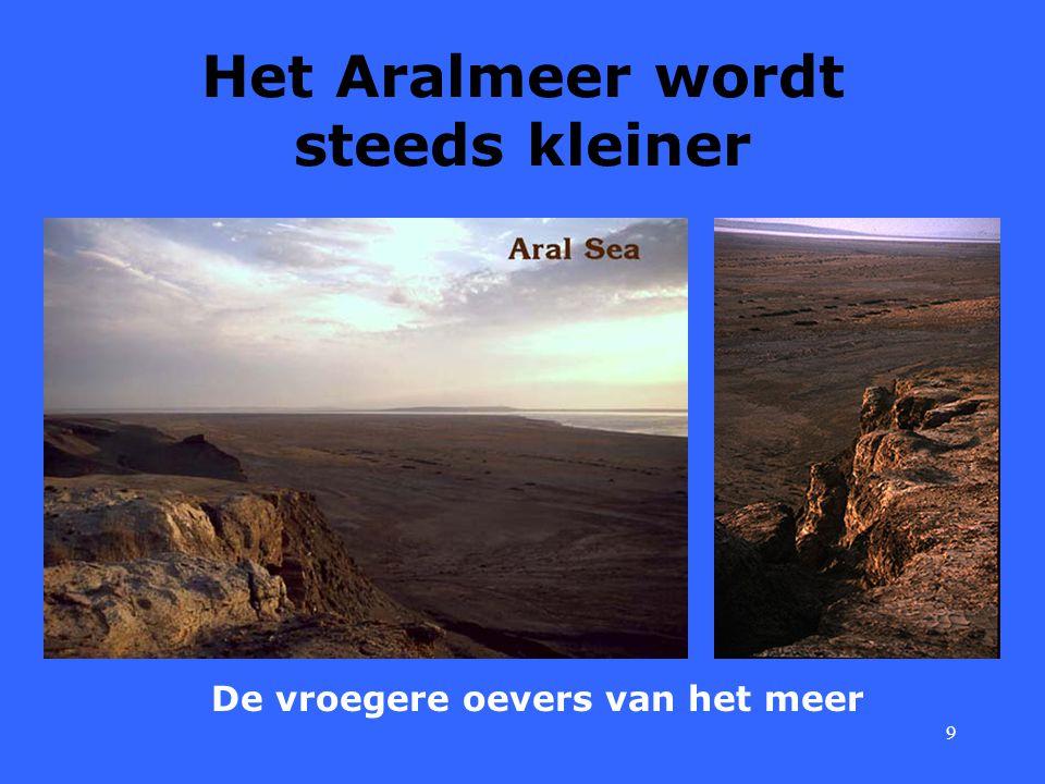 9 Het Aralmeer wordt steeds kleiner De vroegere oevers van het meer