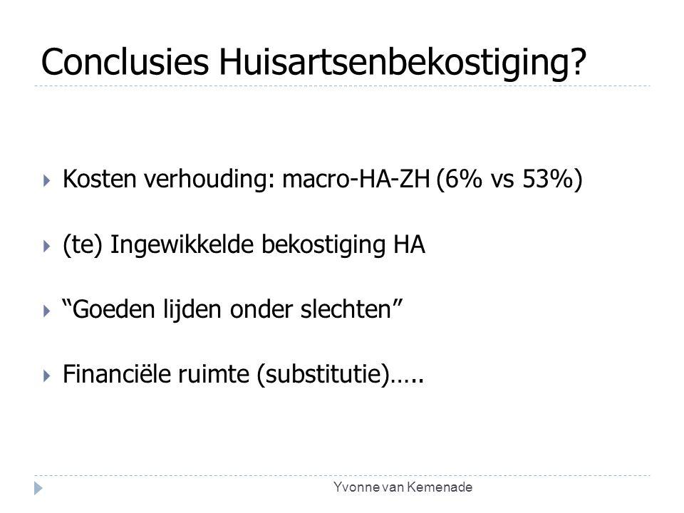 """Conclusies Huisartsenbekostiging?  Kosten verhouding: macro-HA-ZH (6% vs 53%)  (te) Ingewikkelde bekostiging HA  """"Goeden lijden onder slechten""""  F"""