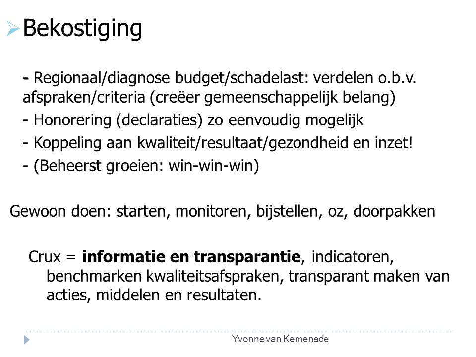 Yvonne van Kemenade  Bekostiging - - Regionaal/diagnose budget/schadelast: verdelen o.b.v. afspraken/criteria (creëer gemeenschappelijk belang) - Hon