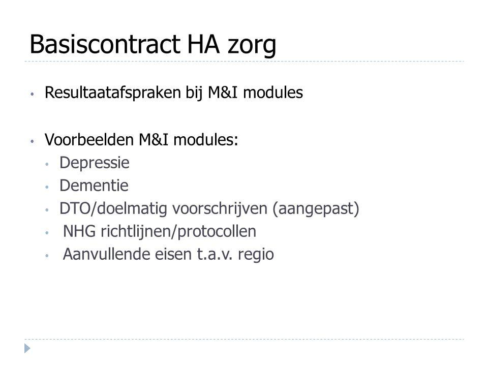 Basiscontract HA zorg Resultaatafspraken bij M&I modules Voorbeelden M&I modules: Depressie Dementie DTO/doelmatig voorschrijven (aangepast) NHG richt
