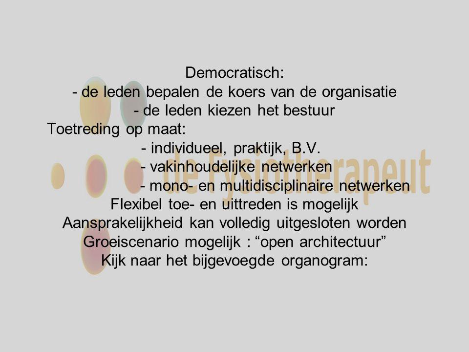 Democratisch: - de leden bepalen de koers van de organisatie - de leden kiezen het bestuur Toetreding op maat: - individueel, praktijk, B.V.