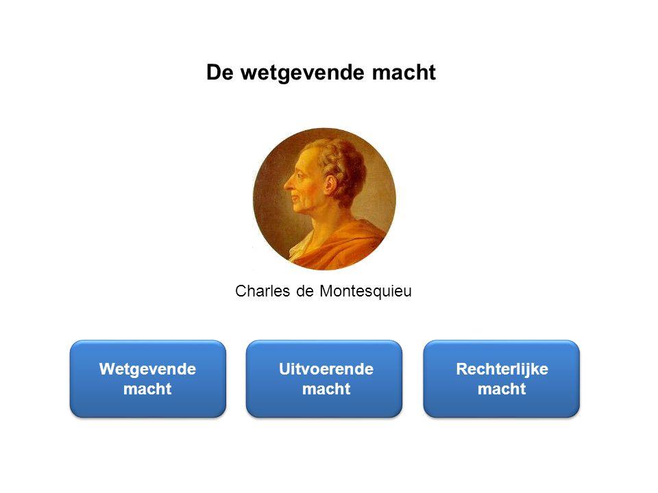 De wetgevende macht Wetgevende macht Uitvoerende macht Rechterlijke macht Charles de Montesquieu