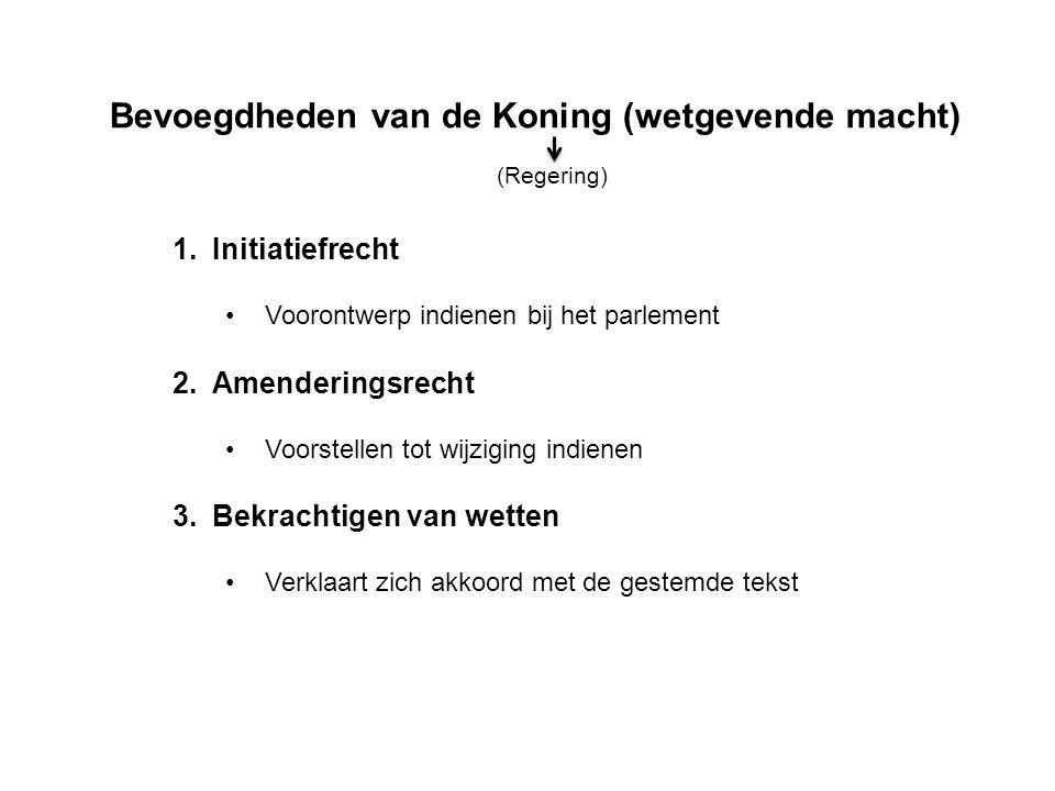 Bevoegdheden van de Koning (wetgevende macht) 1.Initiatiefrecht Voorontwerp indienen bij het parlement 2.Amenderingsrecht Voorstellen tot wijziging indienen 3.Bekrachtigen van wetten Verklaart zich akkoord met de gestemde tekst (Regering)
