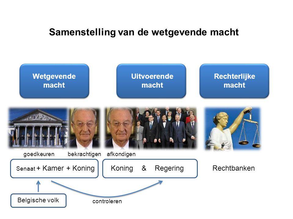 Samenstelling van de wetgevende macht Wetgevende macht Uitvoerende macht Rechterlijke macht Senaat + Kamer + Koning Koning & RegeringRechtbanken Belgische volk bekrachtigengoedkeurenafkondigen controleren