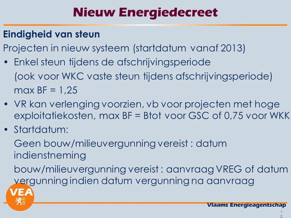 10 Nieuw Energiedecreet Eindigheid van steun Projecten in nieuw systeem (startdatum vanaf 2013) Enkel steun tijdens de afschrijvingsperiode (ook voor