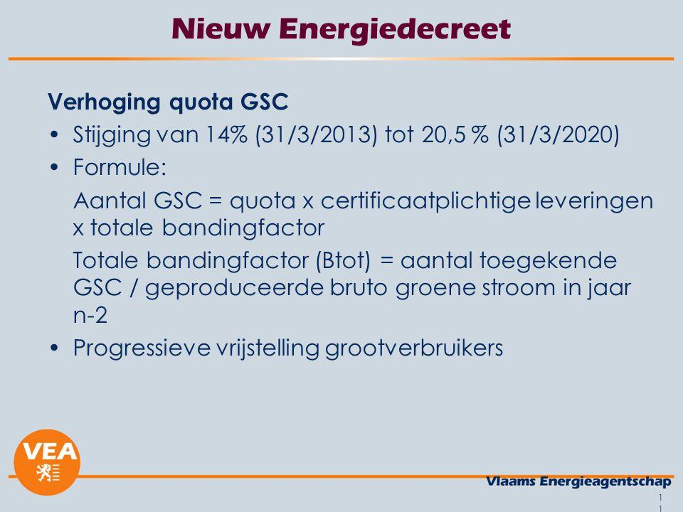 11 Nieuw Energiedecreet Verhoging quota GSC Stijging van 14% (31/3/2013) tot 20,5 % (31/3/2020) Formule: Aantal GSC = quota x certificaatplichtige lev