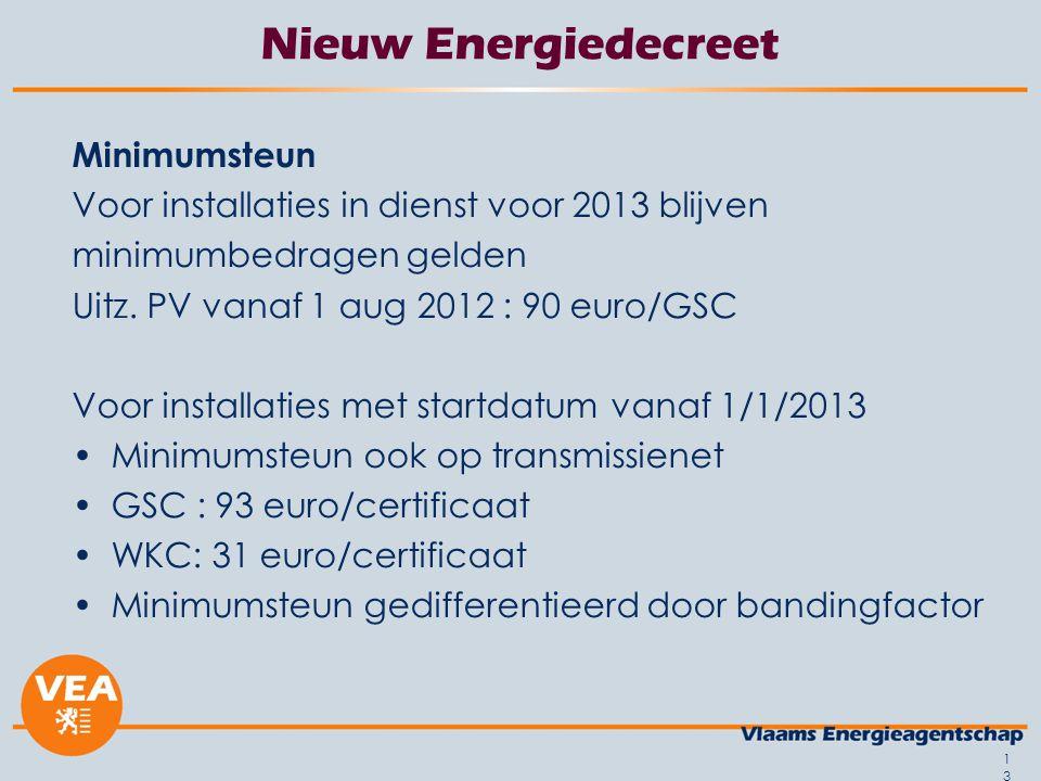 13 Nieuw Energiedecreet Minimumsteun Voor installaties in dienst voor 2013 blijven minimumbedragen gelden Uitz. PV vanaf 1 aug 2012 : 90 euro/GSC Voor