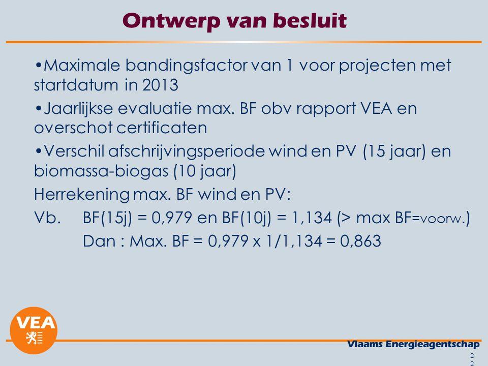 22 Ontwerp van besluit Maximale bandingsfactor van 1 voor projecten met startdatum in 2013 Jaarlijkse evaluatie max. BF obv rapport VEA en overschot c