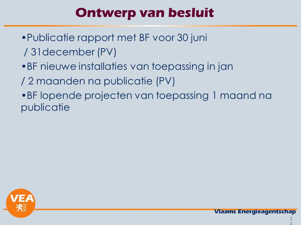 23 Ontwerp van besluit Publicatie rapport met BF voor 30 juni / 31december (PV) BF nieuwe installaties van toepassing in jan / 2 maanden na publicatie