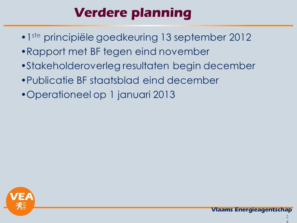 24 Verdere planning 1 ste principiële goedkeuring 13 september 2012 Rapport met BF tegen eind november Stakeholderoverleg resultaten begin december Pu