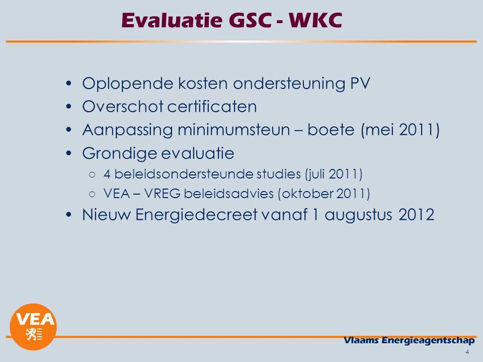 4 Evaluatie GSC - WKC Oplopende kosten ondersteuning PV Overschot certificaten Aanpassing minimumsteun – boete (mei 2011) Grondige evaluatie ○4 beleid