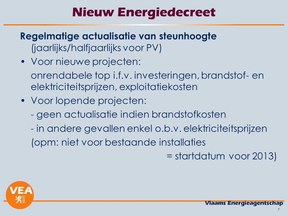 7 Nieuw Energiedecreet Regelmatige actualisatie van steunhoogte (jaarlijks/halfjaarlijks voor PV) Voor nieuwe projecten: onrendabele top i.f.v. invest