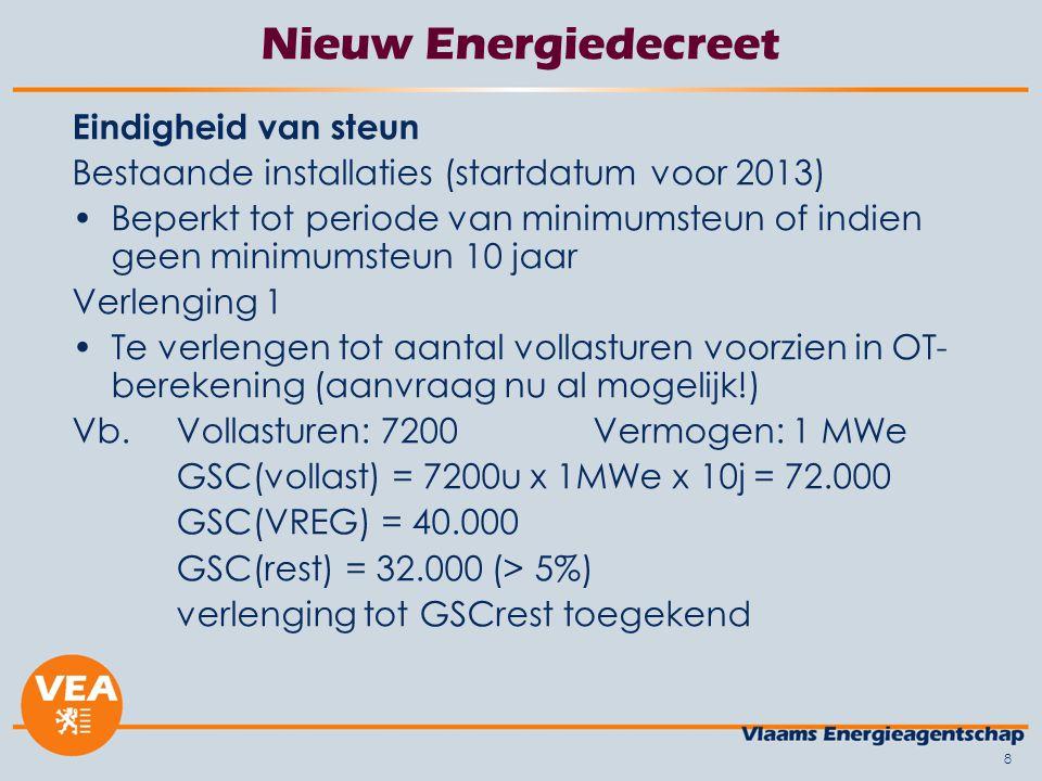 8 Nieuw Energiedecreet Eindigheid van steun Bestaande installaties (startdatum voor 2013) Beperkt tot periode van minimumsteun of indien geen minimums