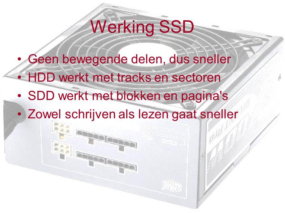 Werking SSD Geen bewegende delen, dus sneller HDD werkt met tracks en sectoren SDD werkt met blokken en pagina s Zowel schrijven als lezen gaat sneller
