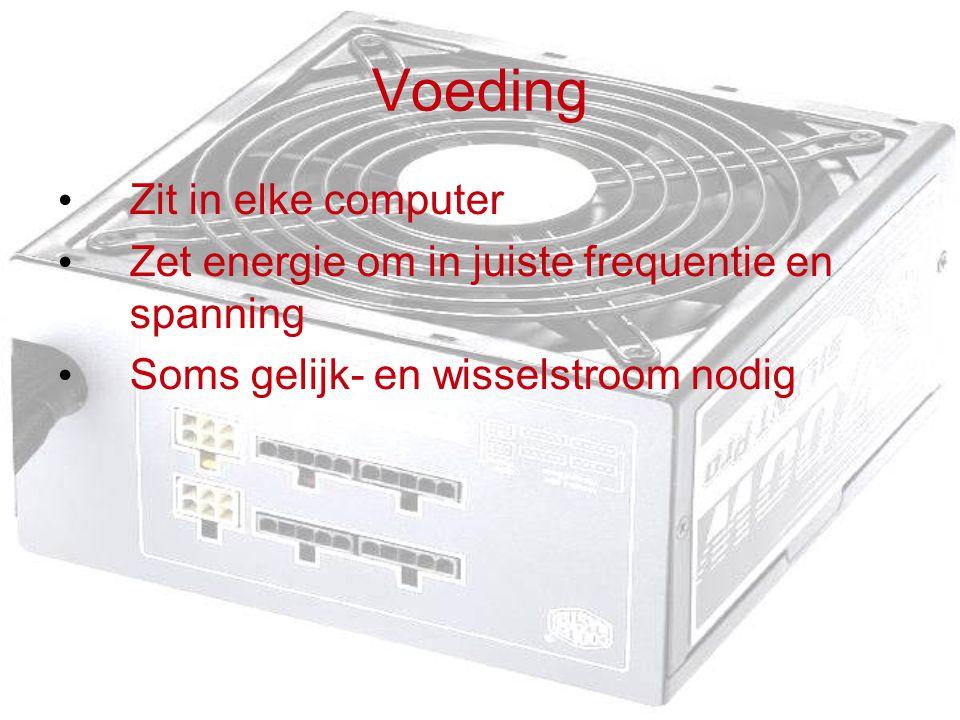 Voeding Zit in elke computer Zet energie om in juiste frequentie en spanning Soms gelijk- en wisselstroom nodig