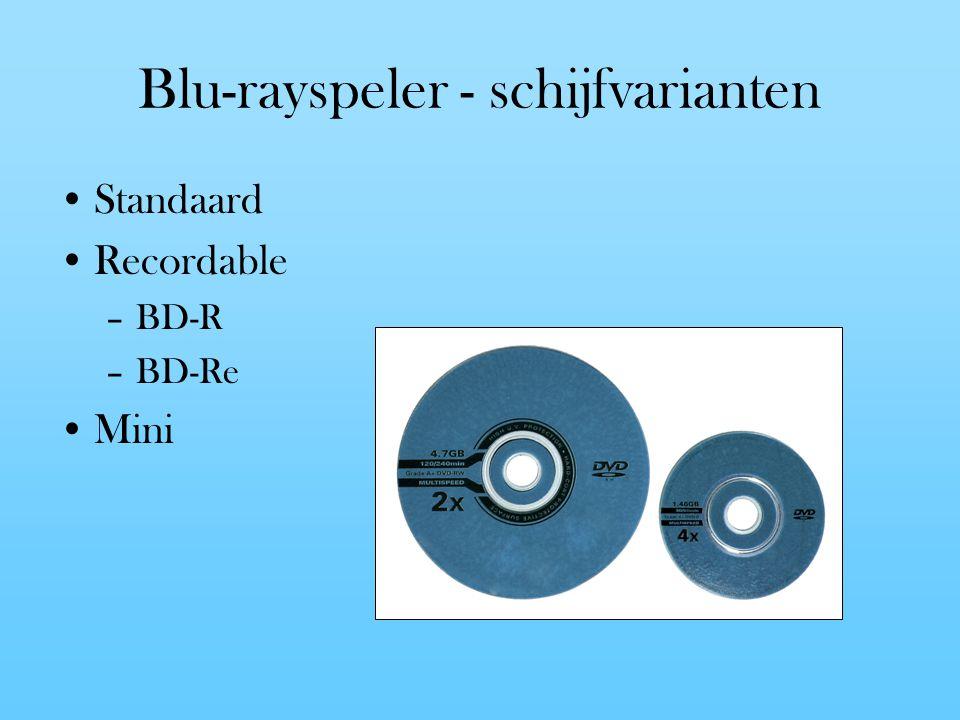 Blu-rayspeler - schijfvarianten Standaard Recordable –BD-R –BD-Re Mini