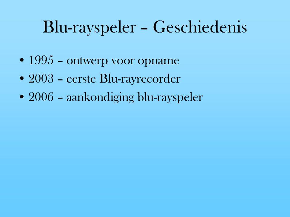 Blu-rayspeler – Geschiedenis 1995 – ontwerp voor opname 2003 – eerste Blu-rayrecorder 2006 – aankondiging blu-rayspeler