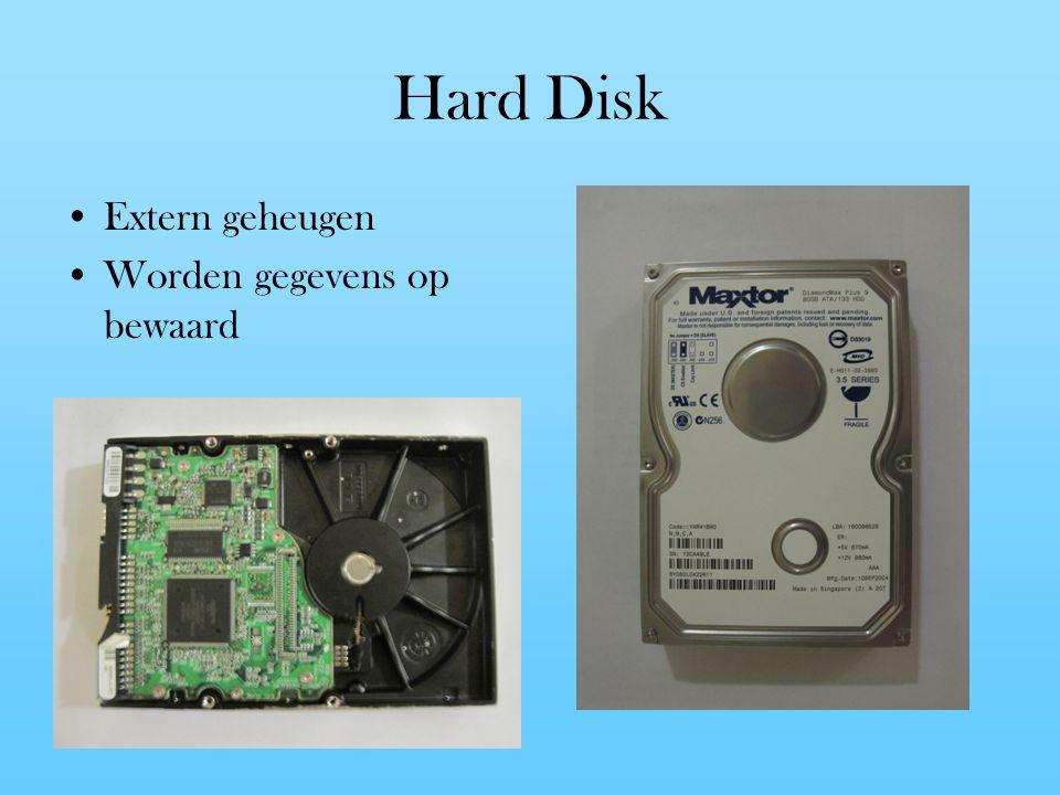Hard Disk Extern geheugen Worden gegevens op bewaard