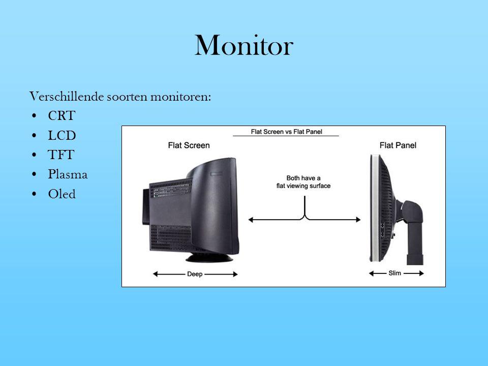 Monitor Verschillende soorten monitoren: CRT LCD TFT Plasma Oled