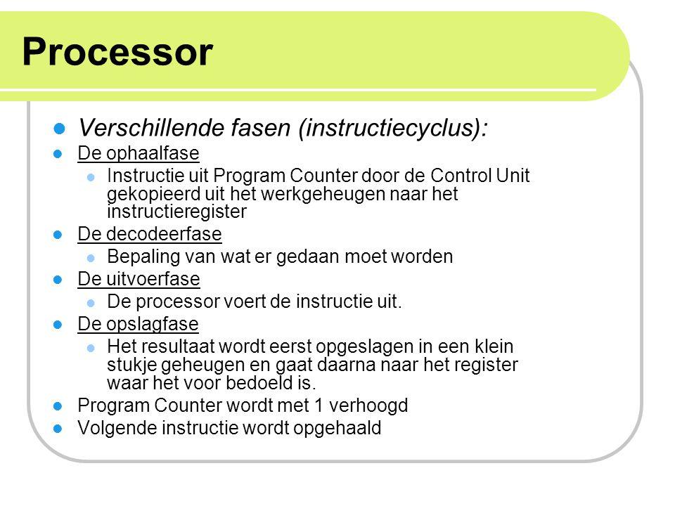 Processor Verschillende fasen (instructiecyclus): De ophaalfase Instructie uit Program Counter door de Control Unit gekopieerd uit het werkgeheugen na