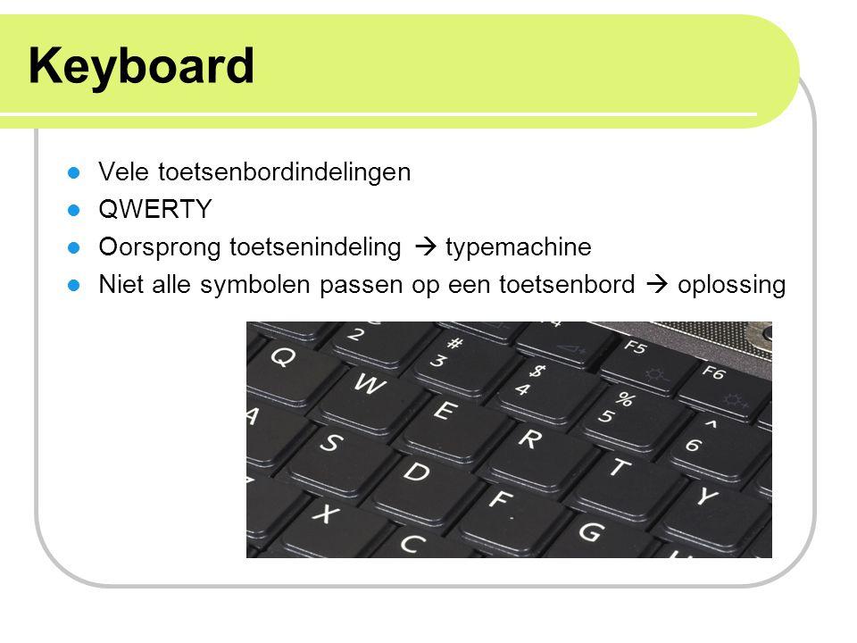 Keyboard Vele toetsenbordindelingen QWERTY Oorsprong toetsenindeling  typemachine Niet alle symbolen passen op een toetsenbord  oplossing