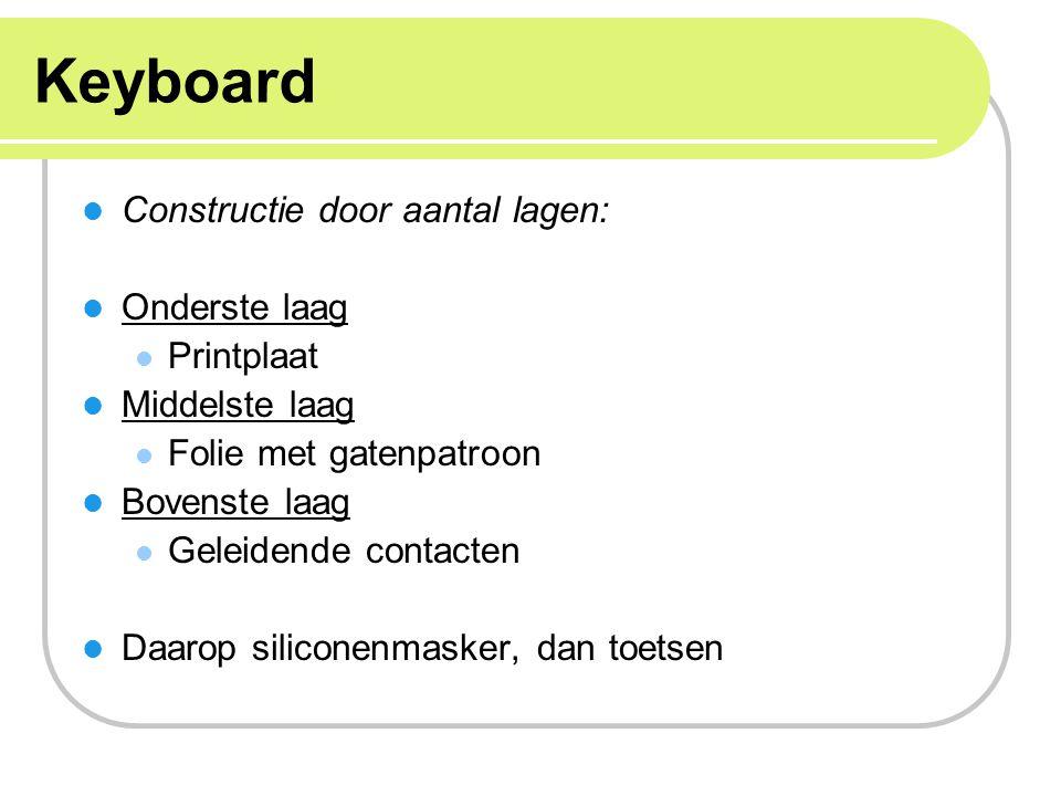 Keyboard Constructie door aantal lagen: Onderste laag Printplaat Middelste laag Folie met gatenpatroon Bovenste laag Geleidende contacten Daarop silic