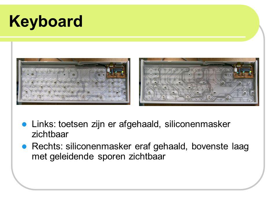 Keyboard Links: toetsen zijn er afgehaald, siliconenmasker zichtbaar Rechts: siliconenmasker eraf gehaald, bovenste laag met geleidende sporen zichtba
