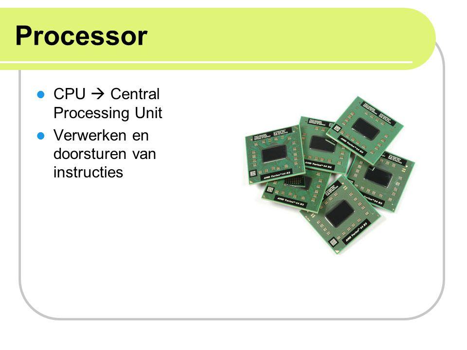Processor 2 belangrijke soorten processors: Microcontrollers (MCU) Microcontroller bevat een CPU en vele andere onderdelen als RAM-, ROM- geheugen en I/O Bevat meer onderdelen dan een microprocessor chip die zelfstandig zonder externe componenten alles onder controle heeft televisies, afstandsbedieningen, wasmachines Microprocessors (MPU) Een chip die code kan uitvoeren maar die dan verder door externe componenten verwerkt moet worden, bevat alleen CPU.
