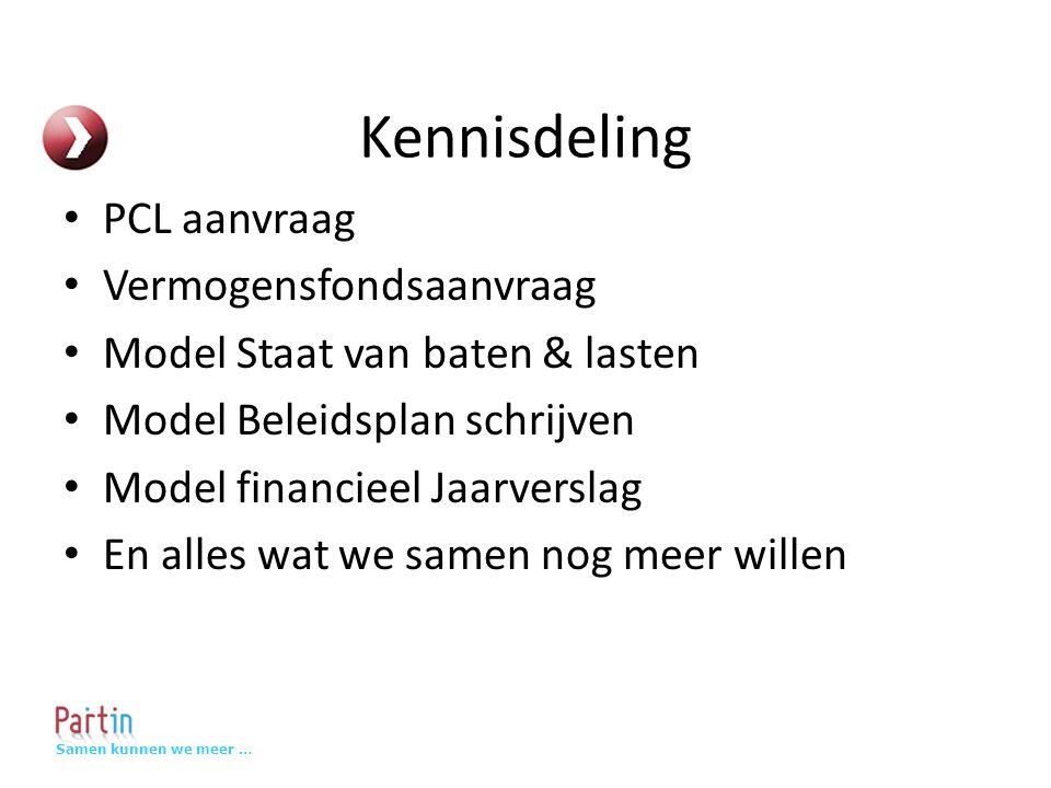 Samen kunnen we meer … Kennisdeling PCL aanvraag Vermogensfondsaanvraag Model Staat van baten & lasten Model Beleidsplan schrijven Model financieel Jaarverslag En alles wat we samen nog meer willen