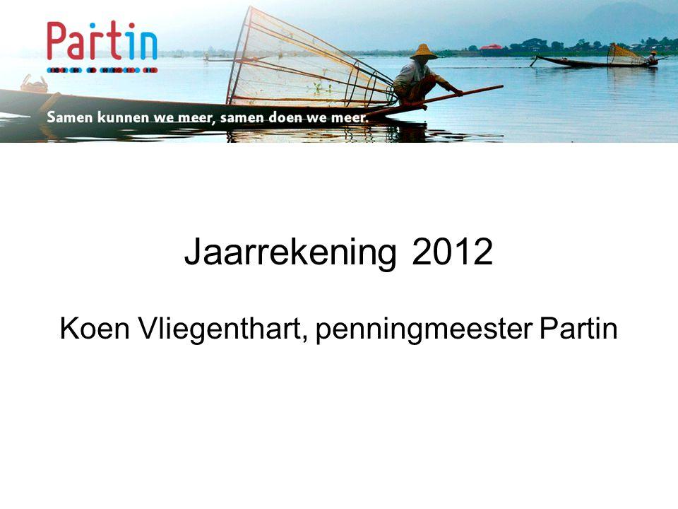 Samen kunnen we meer … Jaarrekening 2012 Koen Vliegenthart, penningmeester Partin