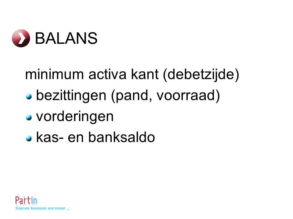 Samen kunnen we meer … BALANS minimum activa kant (debetzijde) bezittingen (pand, voorraad) vorderingen kas- en banksaldo