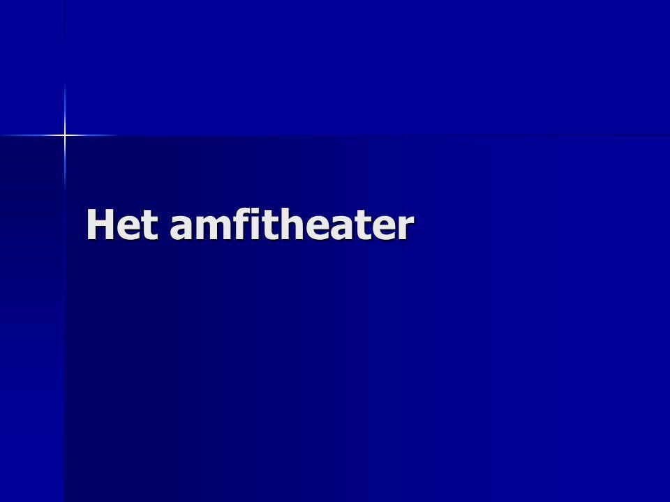 Elke stad zijn amfitheater Naam: amfitheater Naam: amfitheater –amfi (Grieks): aan beide kanten –theater: schouwplaats – in oorsprong: twee (houten) theaters die tegen elkaar geschoven werden Oudste stenen theater: Pompei (80 v.C) Oudste stenen theater: Pompei (80 v.C)
