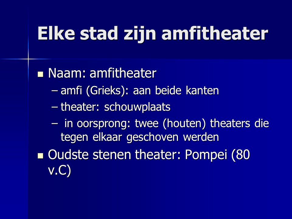 Elke stad zijn amfitheater Naam: amfitheater Naam: amfitheater –amfi (Grieks): aan beide kanten –theater: schouwplaats – in oorsprong: twee (houten) t
