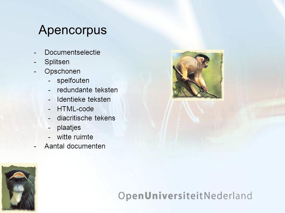 Apencorpus Documentselectie Splitsen Opschonen spelfouten redundante teksten Identieke teksten HTML-code diacritische tekens plaatjes witte ruimte Aantal documenten