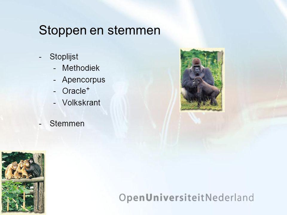 Stoppen en stemmen Stoplijst Methodiek Apencorpus Oracle + Volkskrant Stemmen
